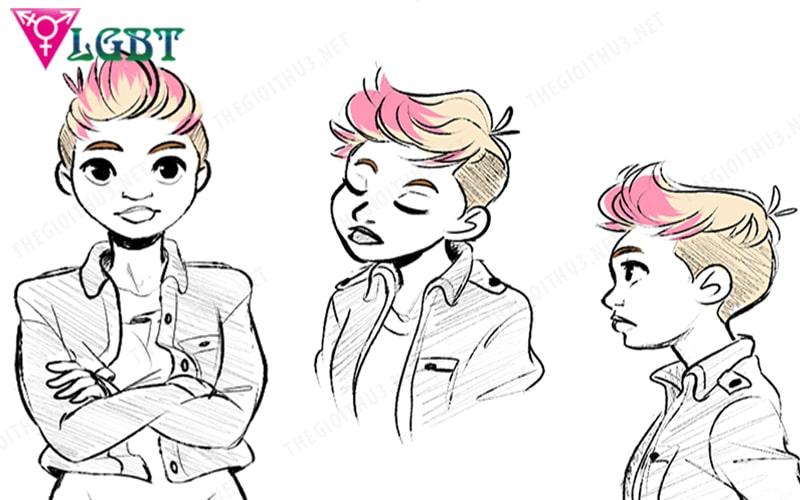 Người đồng tính nữ ăn mặc, kiểu tóc giống con trai