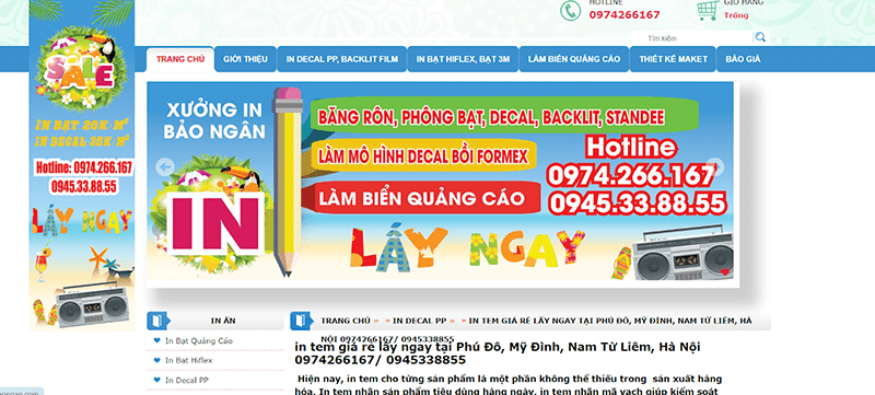 Website công ty In Bảo Ngân