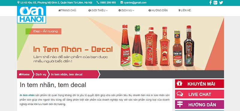 Website công ty Cổ phần Cyan Hà Nội